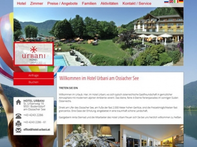 Responsive Homepage für 4 Sterne Hotel am Ossiacher See mit 160 BettenDesign: Benjamin WidmannDie Homepage hotel-urbani.at wurde von SIEMAX für Google optimiert und ist mit Suchbegriffen wie: Hotel Ossiacher See und Wellnesshotel Ossiacher See bei Google auf der 1. Seite zu finden.Google Search