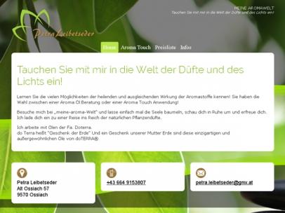 Responsive Homepage für die Aromatherapeutin Petra Leibetseder aus Ossiach.Design: Max Sielaff