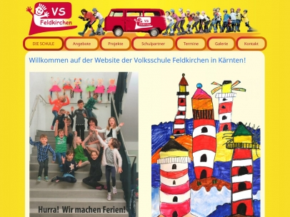 Responsive Website für die Volksschule 1 Feldkirchen.Design: Max Sielaff