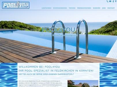 Responsive Homepage der Firma Pool4you - Ihrem Pool-Spezialisten!Design: Max SielaffDie Homepage pool4you.net wurde von SIEMAX für Google optimiert und ist mit Suchbegriffen wie: \Pool Kärnten\, \Swimmingpool Kärnten\ bei Google auf der 1. Seite zu finden.Google Search